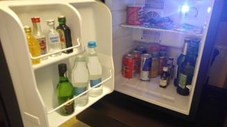 A well-stocked mini-fridge